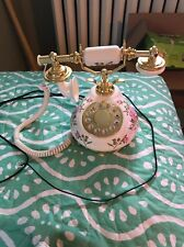 Porcelain White W/ Brass Vintage Telephone With Roses By Polyconcept Nice!!
