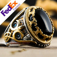 Natural Onyx Stone 925 Sterling Silver Turkish Handmade Luxury Men Ring All Size
