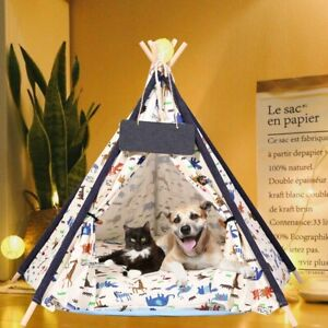 Breathable Pet Teepee Tent House Foldable Dog Cat Bed Kennel House Kitten Tree