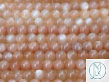 Peach Moonstone Natural Gemstone Round Beads 8mm Jewellery Making (47-50 Beads)