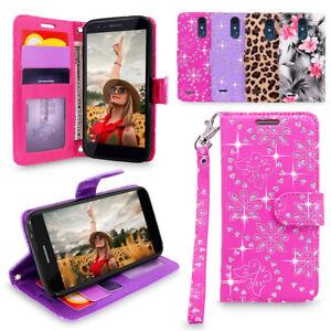 For LG K30/ Premier PRO/ K10 2018 Leather Glitter Card Holder Flip Wallet Case