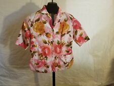 Vintage 1970s Graff Size Small Pink And Red Roses Button Down Short Sleeve Shirt