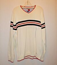 TOMMY HILFIGER MENS V-NECK KNIT LARGE SWEATER 100% COTTON CREAM NAVY RED STRIPS