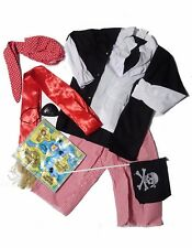 Kids Boys Caribbean Pirate Captain Dress Up Makeup Week Fancy Costume sz 3-7