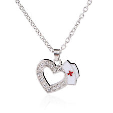 Nurse Gifts Cap Enamel Necklace For Women Fashion Jewelry Crystal Heart Pendant
