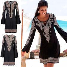 Boho Womens Plus Size Summer Lace-up Beach Wear Sundress Cover UP Mini Dress