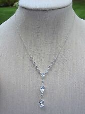 """NWT Givenchy Clear Crystal 'Y"""" necklace W/ Teardrop , Oval & Round Stones"""