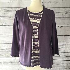 alfred dunner women purple petite size P L sweater  blouse knit pullover top