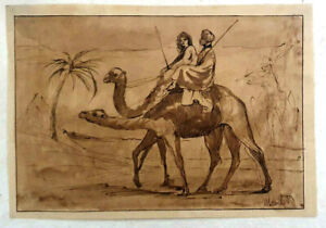 Unknown Artist, Gouache on Paper, Camel Desert Trip,  24x16cm, 18th-19th Century