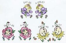 Animated Flowers Embroidery Anthropomorphic Flowers for Towels Potholders 1950s