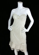 Betsey Johnson 8 M Dress Pinstripe Bustier Bust Lace Trim Strapless Retro Pinup