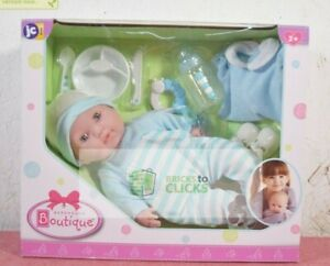 "JC Toys Berenguer Boutique Gift Set Blue 15"" Realistic Soft Body Baby Doll"
