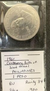 1961 Philippines 1 Peso  Unc J. Rizal 26 gr .900 Silver Crown & *No Reserve!