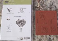 """SUB STAMPIN' UP! """"LOVE BANDIT"""" CLEAR SET OF 6 FUN STAMPS TREE FOX OWL & MORE"""