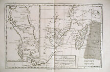 1780 Genuine Antique map of Southern Africa by Bonne