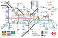 LONDON UNDERGROUND BLACK MAP POSTER 24x36-34317