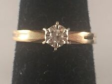 10K Yellow Gold Diamond Solitaire Engagement Ring .03 Carat