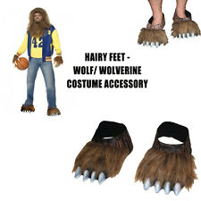 Mens Wolverine Adult Werewolf Hairy Feet Costume Shoe Cover Monster Halloween