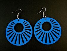Blue Round Lightweight Wood Laser Cut Dangle Fashion Earrings - # 507