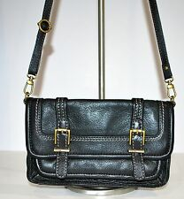 The SAK Cross body Black Leather Small  Purse Buckle Front Messenger Bag Style