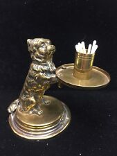 Victorian Brass Dog Match Holder and Striker