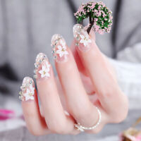 24pc Pink Gradient Nails Flower Full Frame False Nail Tips Full Cover Fake AF