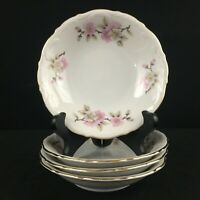 Set of 4 VTG Berry Sauce Bowls by Mitterteich Springtime Pink Floral Germany