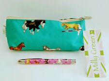 MILLY GREEN HORSE PONY EQUESTRIAN  PENCIL CASE POUCH MAKE UP BAG & PEN GIFT SET