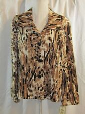 REQUIREMENTS Womans Multi-Color Animal Print Long Sleeve Jacket Size XL NWT