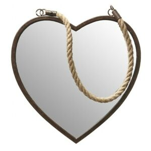 Medium Rusty Metal Heart Shaped Mirror with Rope Hanger Industrial Shabby chic