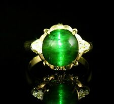 RARE FINE NATURAL 5.90ctw GREEN CATS EYE TOURMALINE DIAMOND SOLID 18K GOLD RING