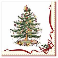 Spode Christmas Tree Ribbon & Holly Paper Beverage Napkins (20 Count) NIP