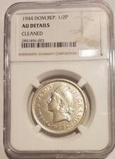 1/2 Peso Silver Dominican Republic 1944 NGC AU Details Key Date RRR!