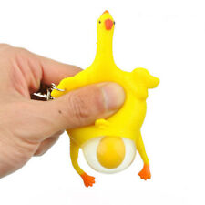 Lovely Rubber Chicken Squeeze Egg Laying Hens Crowded Stress Relief Toy Keychain