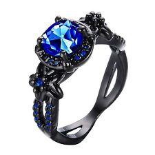 Bamos Jewelry Royal Blue Sapphire Black Gold Halloween Best Friend Engagement