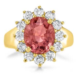 Certified 3.79cttw Pink Tourmaline 1.32cttw Diamond 14KT Yellow Gold Ring