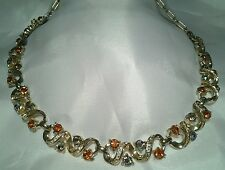 Vintage Gold Coro Amber Topaz Warm Fancy Collar Choker Book Piece Necklace