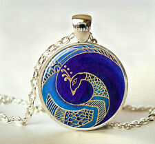 NEW Vintage PEACOCK Cabochon Tibetan silver Glass Chain Pendant Necklace