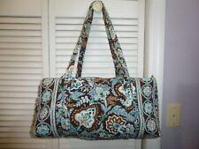 EUC Vera Bradley Java Blue & Brown Duffel Tote Bag - see more VB for combo S&H !