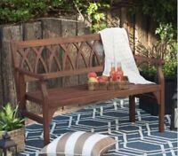 4-Ft Outdoor Garden Bench Dark Brown Weather Resistant Wood Rustic Porch Deck