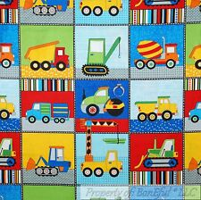 BonEful Fabric FQ Cotton Quilt Construction Tractor Dump Truck Yellow Baby Boy L