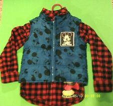 Guc, Disney ( 2 For 1 ) Red Plaid Long Sleeve ,Size 4T, Blue Vest, Size 2T