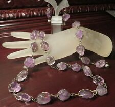 Necklace Bracelet Earrings Set Mexico Cloudy Amethyst Tumbled Caged Silver Tone