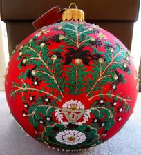 """Jay Strongwater Artisan Tree of Paradise Siam Red 7"""" Glass Ornament New in Box"""