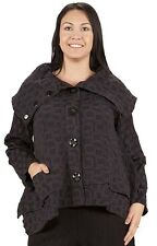 PRISA DESIGNS LAGENLOOK ARTSY L/S BUTTONED COAT JACKET BLACK Sz 1 NWT $302