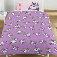 Emoji Unicorn Single Duvet Set Purple Pillow Official Emoji Licensed Product