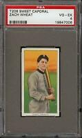 Rare 1909-11 T206 HOF Zack Wheat Sweet Caporal 350-460 Brooklyn RC PSA 4 VG-EX