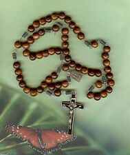 """Priests Wooden 22 1/2"""" Lg.Rosary W/Coiled Spacers & Ebony Crucifix Gorgeous!!"""