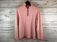 Tommy Bahama Mens Light Red Reversible 1/4 ZIP Pullover Sweater Size Medium NWT