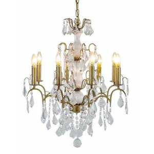 Large Brushed Pale Gold 8 Branch Glass French Chandelier CH102